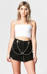 Carmar Denim: BLACK BEATRICE ZIP FRONT CHAIN SKIRT - DENIM SKIRT