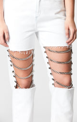 WHITE HERMIA KNEE CHAIN JEAN
