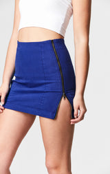 ROYAL BLUE MARGERY DOUBLE SIDE ZIP SKIRT