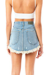 BEATRICE AZURITE SCALLOP LACE TRIM DENIM SKIRT
