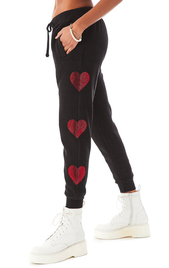 RHINESTONE HEART SWEATPANTS