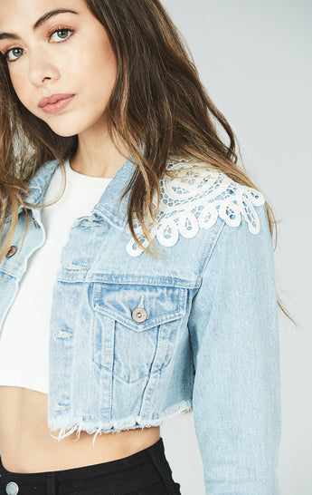 Carmar Denim: CROPPED DENIM JACKET WITH SHOULDER APPLIQUE -