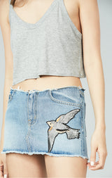 BOISE NO WAISTBAND CERES SKIRT WITH BIRD APPLIQUE