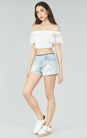 ZAIRE CROCHET PATCH NO WAISTBAND SHORT