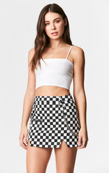 Carmar Denim: CHECKERED SKIRT WITH CHAIN - IMPORT SKIRTS
