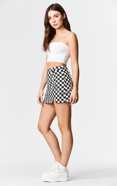 CHECKERED SKIRT WITH CHAIN