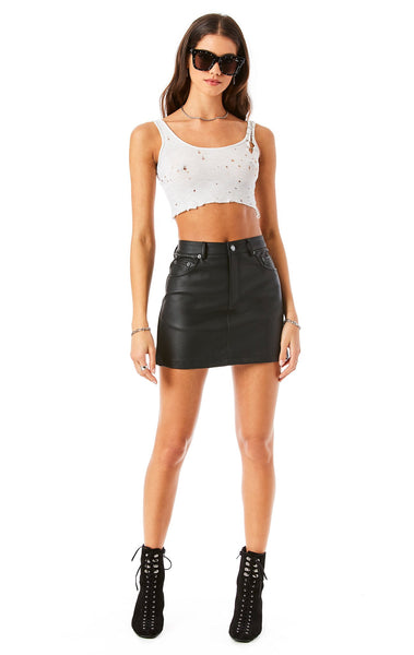 FAUX LEATHER A-LINE MINI SKIRT