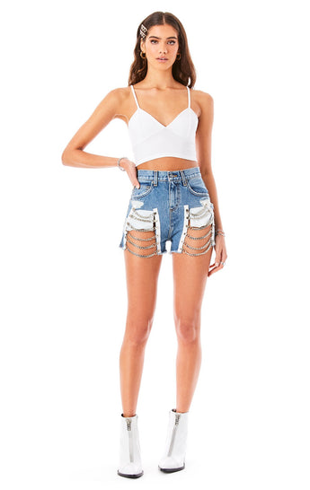 ALICE SELENITE CHAIN LADDER DENIM SHORT