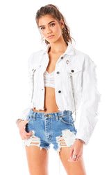 ZEUS WHITE CHAIN DETAIL DENIM JACKET
