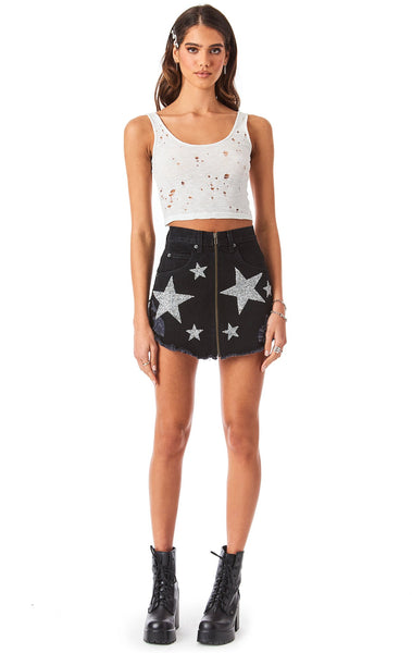 BEATRICE RHINESTONE STAR PATCH DENIM SKIRT
