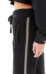 RHINESTONE STRIP SWEATPANTS