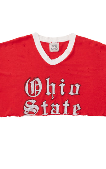 Carmar Denim: COLLEGE RETRO CAMP CROP TEE - VINTAGE TEE