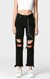 Carmar Denim: BLACK EMELIA CHAIN HARNESS JEAN - DENIM JEAN