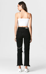 Carmar Denim: BLACK EMELIA CHAIN HARNESS JEAN - JEANS