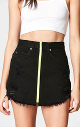 Carmar Denim: BLACK BEATRICE NEON ZIP FRONT SKIRT - DENIM SKIRT