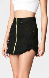 Carmar Denim: BLACK BEATRICE NEON ZIP FRONT SKIRT - SKIRTS