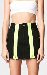 Carmar Denim: BLACK COLIN SKIRT WITH NEON DOUBLE ZIPPERS - DENIM SKIRT