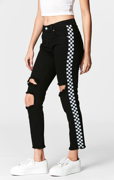 MIA CHECKERED TRIM CROP JEAN