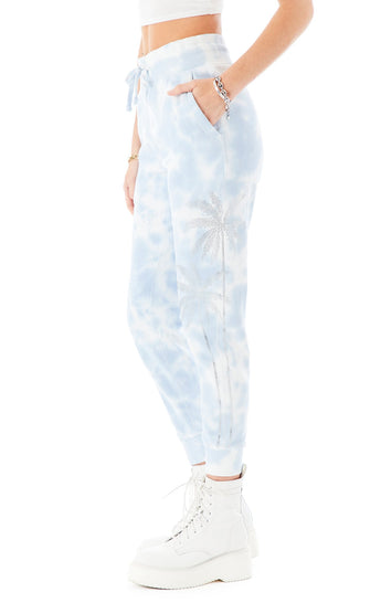 RHINESTONE PALM TREE TIE DYE SWEATPANTS