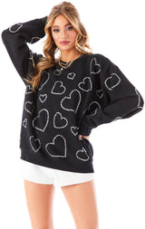 ALLOVER RHINESTONE HEART PULLOVER