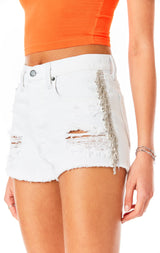 TITANIA WHITE RHINESTONE FRINGE SIDE DENIM SHORT