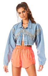 NICHOLAS MOONSTONE CROP DENIM JACKET