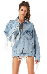 AUDREY CHROMIUM TASSLE FRINGE DENIM JACKET