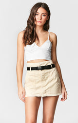 Carmar Denim: BELTED PAPERBAG SKIRT - IMPORT SKIRTS