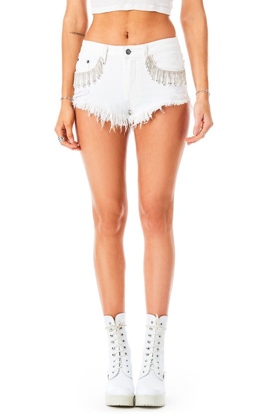 MOGAN WHITE RHINESTONE FRINGE DENIM SHORT