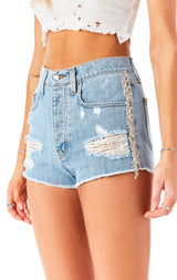 TITANIA NEPHRITE RHINESTONE FRINGE SIDE DENIM SHORT