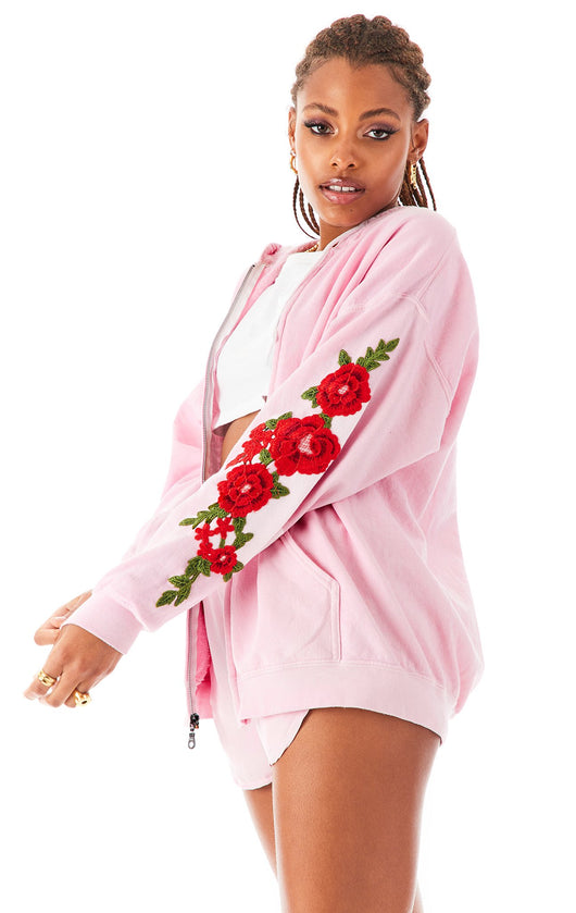ROSE EMBROIDERED ZIP UP
