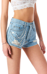TITANIA MOONSTONE PEARL CHAIN DENIM SHORT
