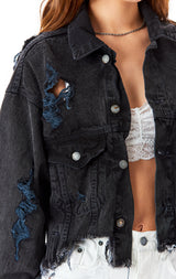 AUDREY PICONTE CROP DENIM JACKET