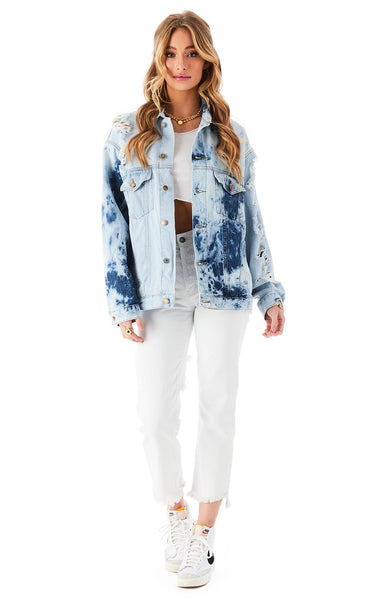 AUDREY HALF BLEACH SPLICED DENIM JACKET