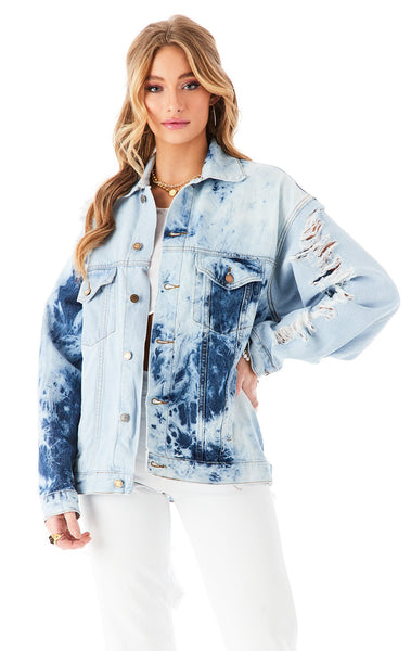 AUDREY HALF BLEACH SPLICED DENIM JACKET?id=27950096023575