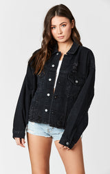 Carmar Denim: BLACK AUDREY OVERSIZED DENIM JACKET - DENIM JACKET