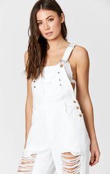 WHITE DENIM OVERALLS WITH SHREDDING