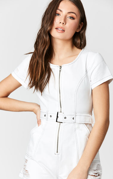 CONTRAST BELT SHORTALL