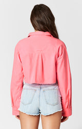NEON PINK LONG SLEEVE CROP SHIRT