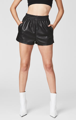 LEATHER ATHLETIC SHORT WITH RIBBED WAISTBAND