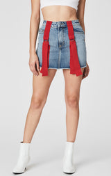 Carmar Denim: YUKON COLIN SKIRT WITH RED D-RING STRAPS - SKIRTS