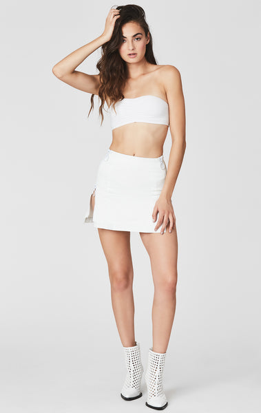 WHITE MARGERY DOUBLE SIDE ZIP SKIRT