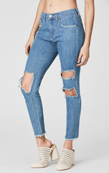 Carmar Denim: ASPEN MIA KNEE CUTOUT CROP JEAN - DENIM JEAN