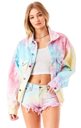 MOGAN SPLASH TIE DYE DENIM SHORT