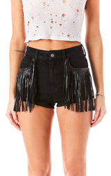 CARNELIAN FRINGE DENIM SHORT