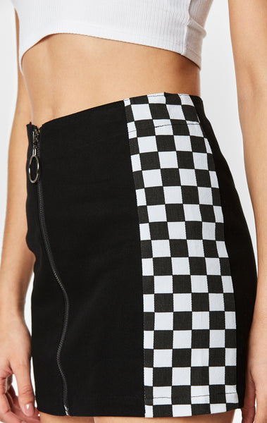 Carmar Denim: CHECKERED TRIM SKIRT - IMPORT SKIRTS