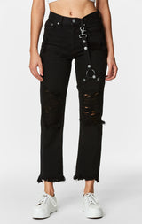 Carmar Denim: BLACK EMELIA HARNESS JEAN - DENIM JEAN
