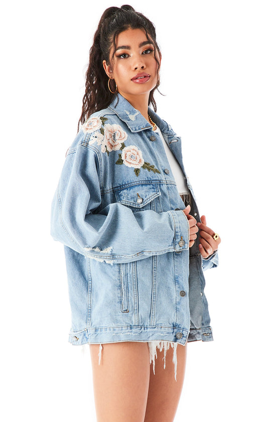 AUDREY AKOYA ROSE EMBROIDERED DENIM JACKET?id=27959362420759
