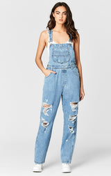 GEMINI SHREDDED DENIM OVERALL