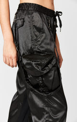 SATIN HARNESS STRAP CARGO PANT